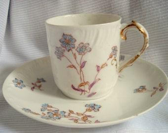 Vintage Limoges Haviland France Demitasse Tea Cup and Saucer Late 1800s CFM GDM