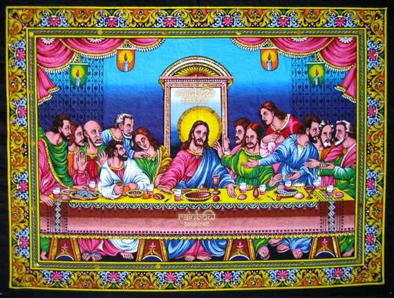 Lords Last Supper Sequin Wall Hanging Handmade Painted Cotton
