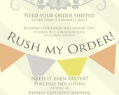 Rush My Order PRODUCTION - Speeds up the PRODUCTION Time of Your Order!