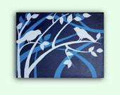 "Modern Contemporary Painting on Canvas Birds on a Tree Branch - 12"" x 16"""