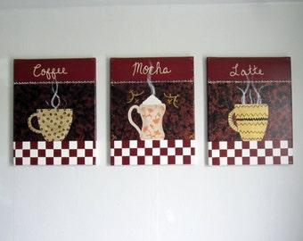 set of 3 11x14 coffee mocha latte arylic paintings