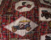 Barkcloth Antique Car Print with Hupmobile Maxwell Rover Duryea