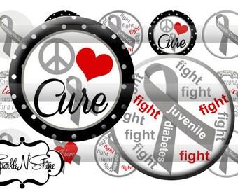 Instant Download Bottle Cap Image Sheet - Juvenile Diabetes Awareness - 1 inch Circles