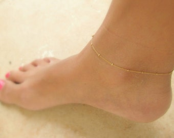 SALE - Gold Anklet - Anklet Jewelry - Gold Ankle Bracelet - Thin Gold Anklet - Satellite chain Anklet-Dot anklet - Beaded Gold Chain