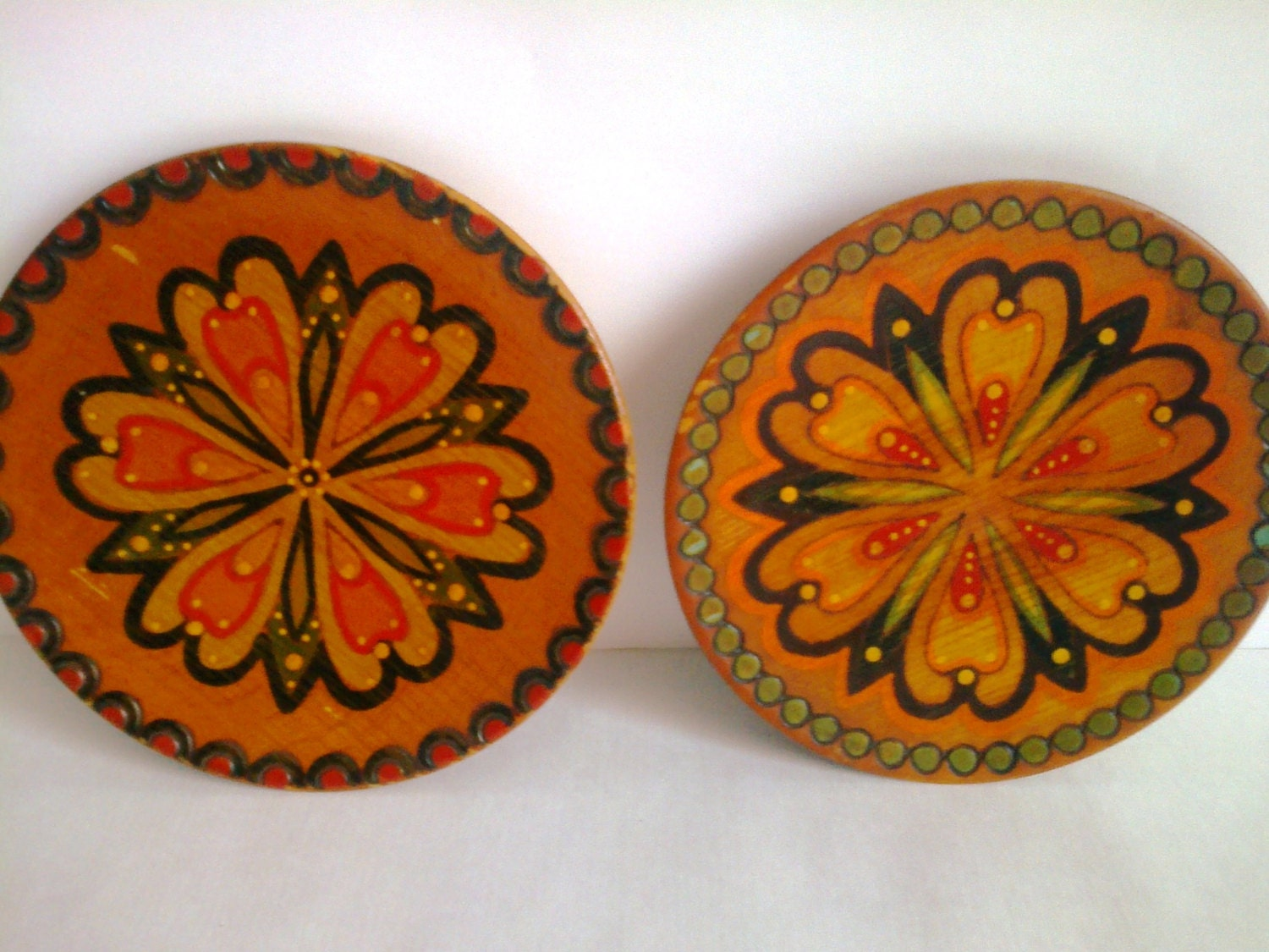 Decorative Wall Plates : Vintage decorative plates wall decor set of two wooden