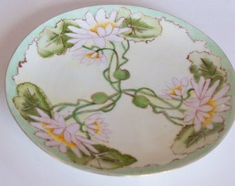 """Antique Waterlilly Handpainted 7 3/4"""" Plate Germany Serving Cake Tea Party Hostess Gift"""