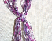Lanyard or Scarf Purple/Magenta ladder yarn lanyard with silver metallic thread weaved thru it.