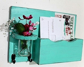 Mail organizer, floral vase, key hooks, mail holder, vintage, sconce, wood, distressed, shabby chic, home decor,painted Aqua blue