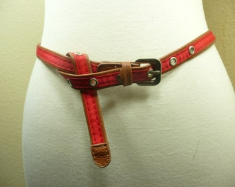 Red and brown color faux lether cute belt