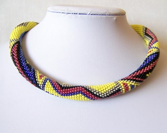 Beaded crochet rope necklace - geometric pattern - Beaded necklace - Handmade jewellery - Beadwork - Mexico -  yellow red blue silver black