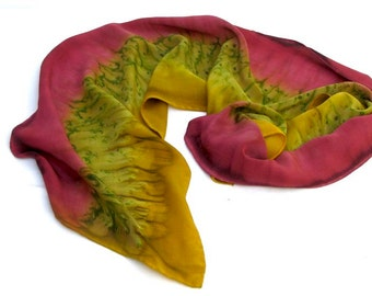 SILK SCARF, Hand Painted in Copper Russet, Olive Green, and Gold
