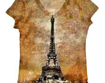 woman plus size  Eiffel Tower night view print top, t shirt and tank xs-plus size(82)