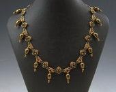 BRONZE & GOLD NECKLACE beadwork