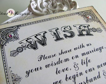 Wish Tree Sign Wedding Wishing Tree Instruction Card for Wish tags Vintage Style Wedding Sign
