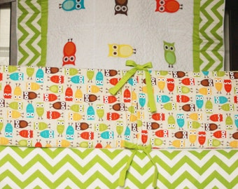 Owl Crib Bedding Set bumper, skirt, quilt applique neutral Ready to Ship