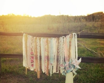 Rag Tie Garland - Wedding Decor - Nursery Decor - Vintage Shabby Chic Garland