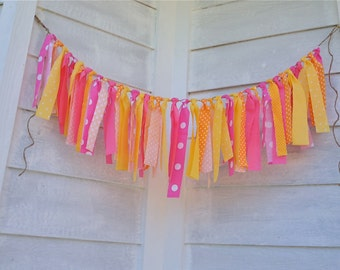 Rag Tie - Sherbert Theme - Bright Orange, Yellow and Pinks - Birthday Garland - Tea Party Decor