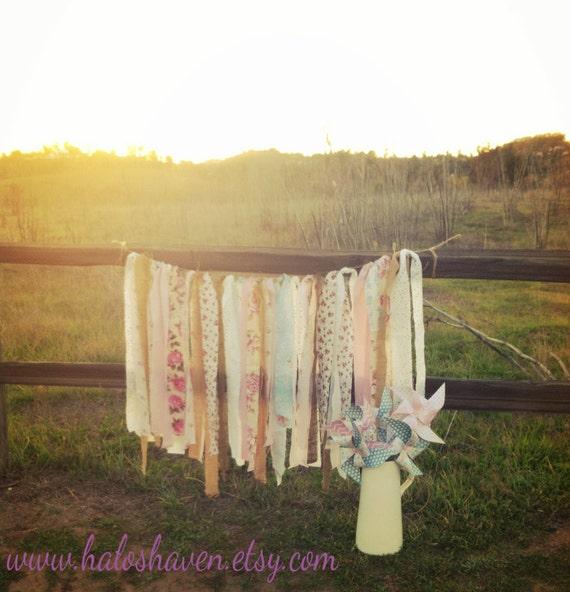 Items similar to rag tie garland wedding decor nursery for Shabby chic garland lights