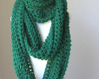 EMERALD INFINITY Crochet SCARF Long Fashion Scarf Neckwarmer Cowl Eternity Crochet Scarf Fall Winter Handmade Unisex Gift