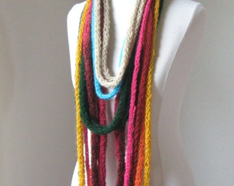 ROPE MULTICOLOR SCARF Hippie Bohemian Crochet Knit Fall Winter Fashion Scarves Chic Trendy Cozy Feminine