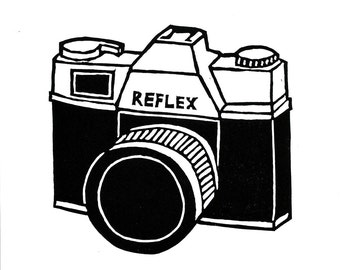 Retro camera lino print