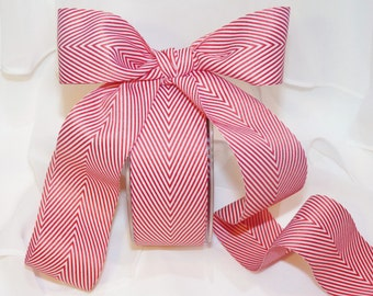 CHEVRON Ribbon in RED Stripe - PrettY Packages,Weddings, Gift Wrapping,Bows, Tags, Cards,Crafts, Shower, Party Favors