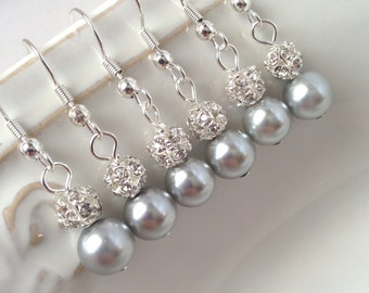 6 Pairs Grey Pearl Earrings, Bridesmaid Earrings, Silver Pearl and Rhinestone Earrings, Pearl and Crystal 0075