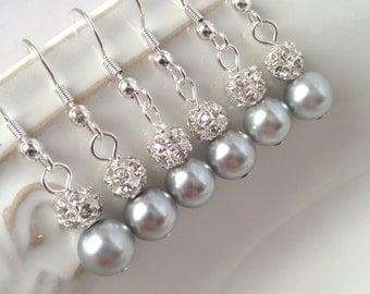 7 Pairs Grey Bridesmaid Earrings, Light Grey Pearl Earrings, Silver Pearl Earrings, Pearl and Rhinestone Earrings, Rhinestone Ball 0075