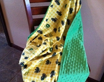 John Deere minky blanket toddler sized