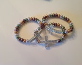 Multi-color & Silver Cross Bracelet