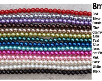 8mm Acrylic  Pearl Beads - Strand/58   -  Chunky Necklaces - 14 colors