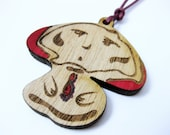 Mr mushroom pendant - wooden jewelry - children accessories