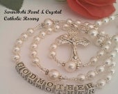 Godmother Swarovski Pearl and Crystal Catholic Rosary