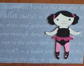 Little Ballerina dancer with pink tutu customizable