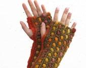 Crochet Fingerless, Orange Gloves, Wrist Warmers, Hand Warmers, Armwarmers, Woman, Fall, Autumn colors, Christmas Gift  OOAK