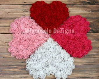 """Rosette Hearts - Shabby Chiffon Heart Appliques - Large 4.5"""" Hot Pink, Pink, White, Red"""
