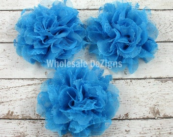 """Turquoise Chiffon and Lace Flowers - 4"""" Full and Fluffy - 4 inch Large"""