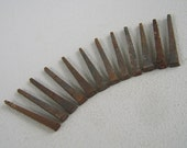 Vintage Salvaged Flat Square Head Metal Nails Lot of 12 - 2 1/4 inches long