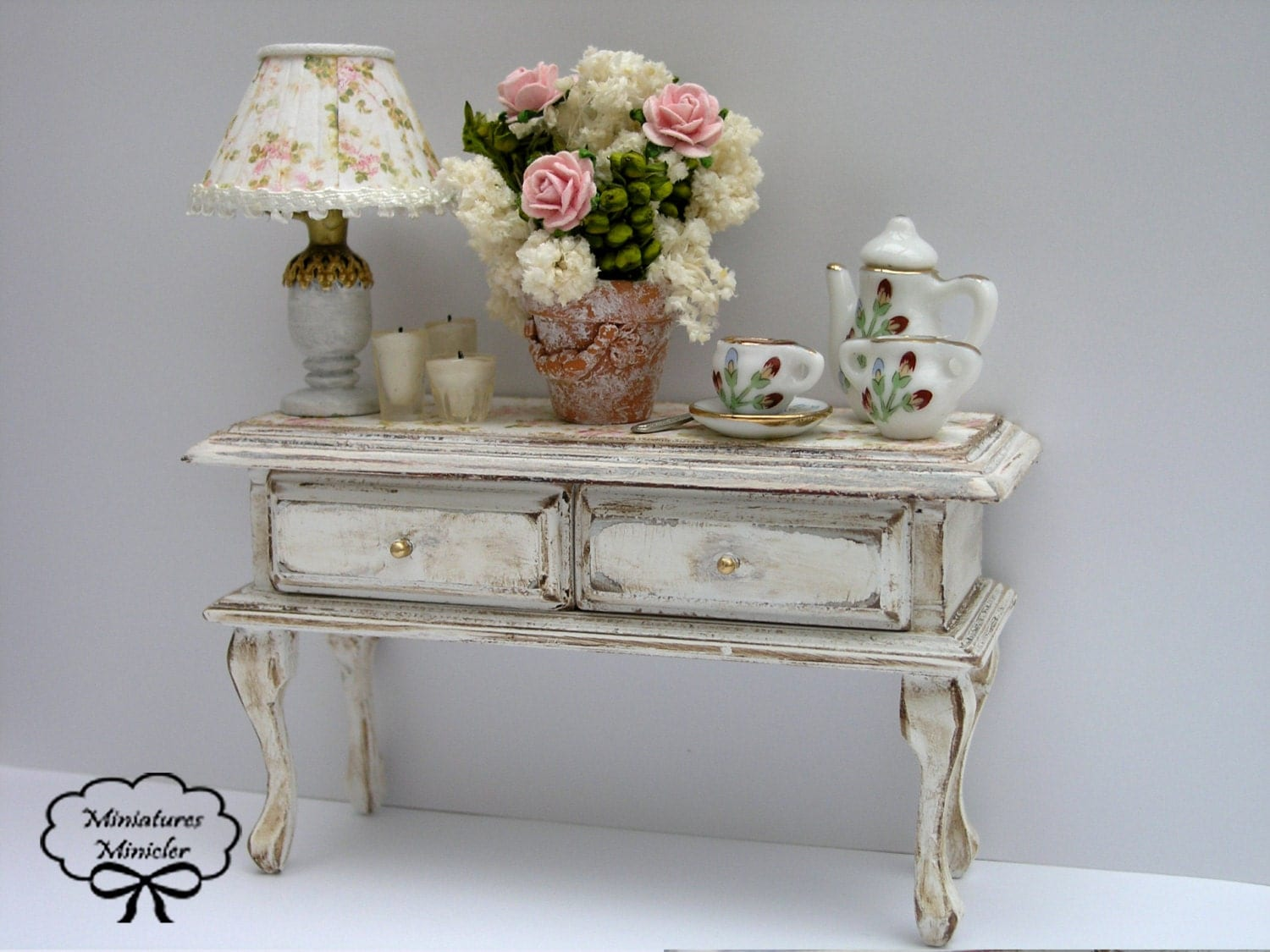 Miniature dollhouse sideboard shabby chic style with for Sideboard shabby chic