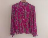 70s vintage women's medium polyester sheer floral blouse magenta color
