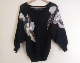 80s vintage black sweater with gray leaf shapes
