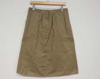 80s vintage khaki skirt with pockets large
