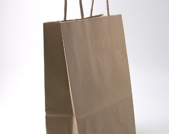 Shopping Bag - Small Kraft Shopping Bag with Handle - 5 1/4 x 3 1/4 x 8 3/8