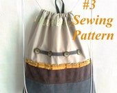 Backpack pattern pdf, Beginner sewing pattern, Backpack with 2 pockets and lining, Backpack is 14 1/2'' / 37 cm wide x 16 7/8'' / 43 cm high