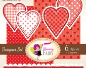 Digital clipart Love elements Lovely Polka dots Hearts Borders Decorative Scalloped strips Love Clipart red clipart Scrapbooking pf00055-2