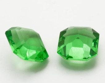 72 Glass Jewels 12x10mm Faceted Green Peridot Tin Cut, Octagon Cushion, Vintage West German NOS, High Quality, Big Lot Jewelry Destash