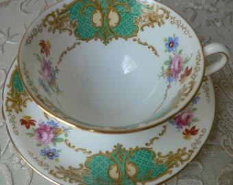 Copelands Grosvenor China Gold Green Cartouche Floral Cup and Saucer