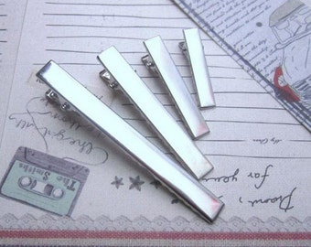 50pcs Alligator Clip Silver Plated Metal Clip Hair Accessories 32mm