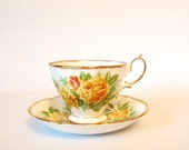 Vintage Teacup and Saucer Set Royal Albert Bone China Tea Rose Footed Tea Cup with Yellow Roses and Gold - England - 1940 Afternoon Tea