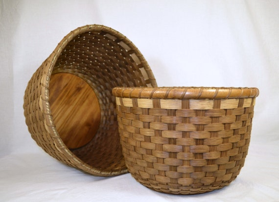 Handmade Wood Basket : Items similar to handmade woven round reed baskets two